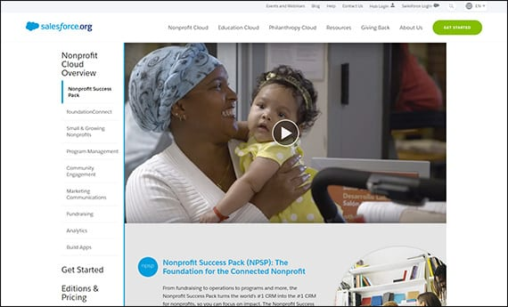 Learn more about the Salesforce NPSP Salesforce app for nonprofits on their website.